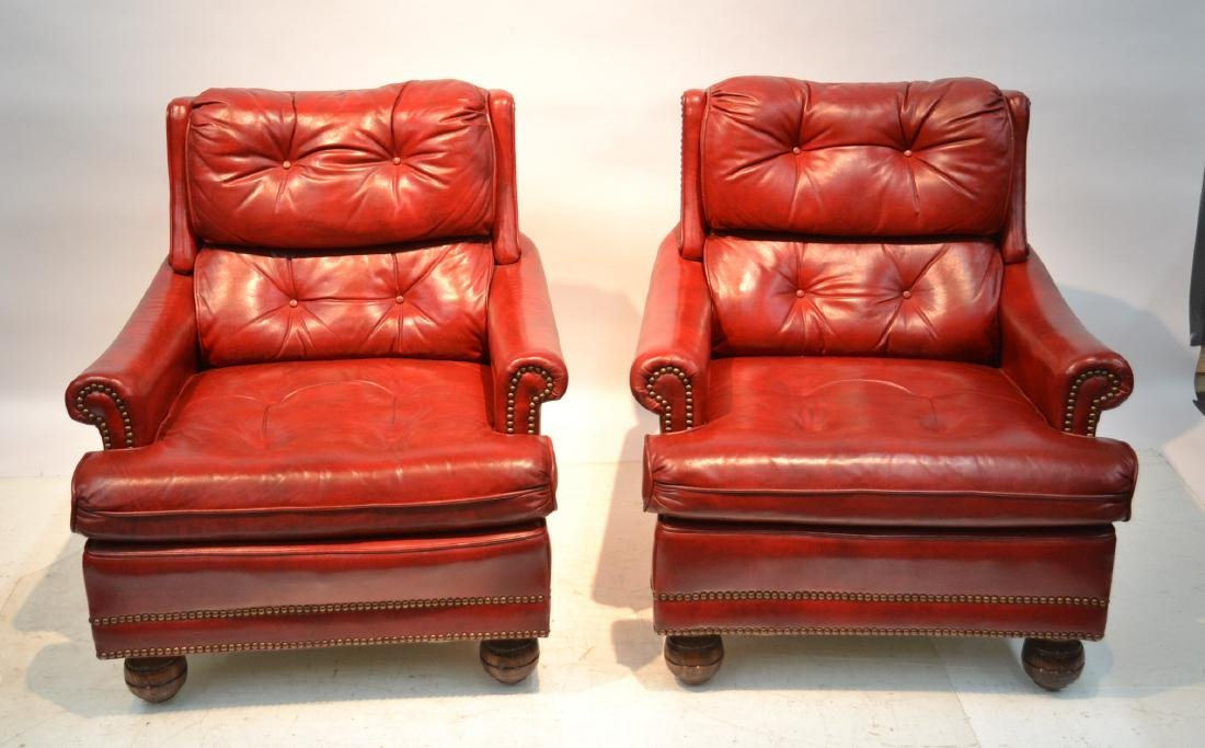 (Pr) TUFTED BACK DARK RED LEATHER CLUB CHAIRS
