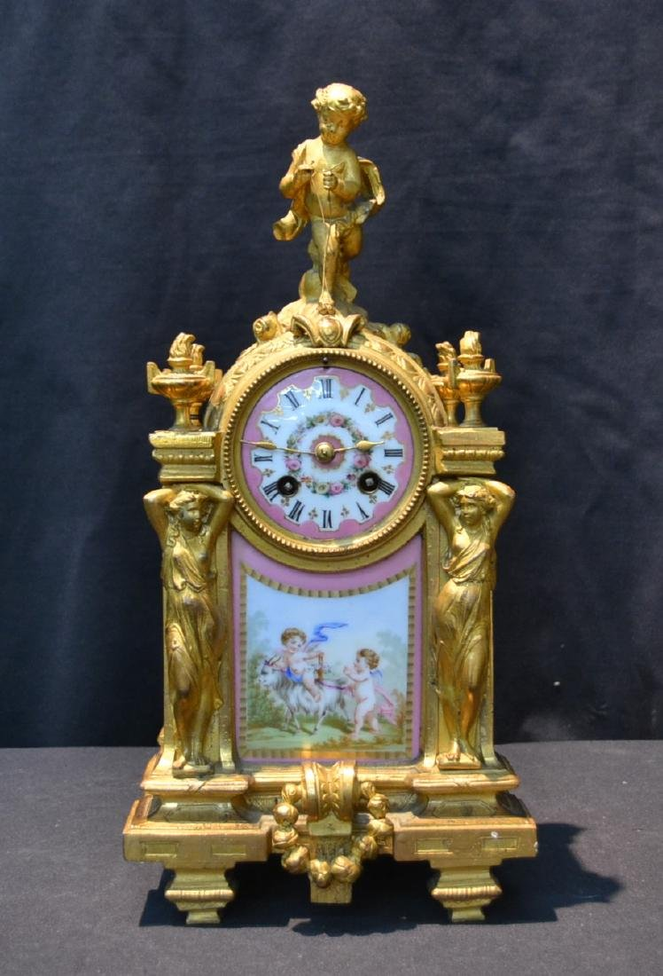 19thC FRENCH BRONZE & SEVRES STYLE MANTLE CLOCK