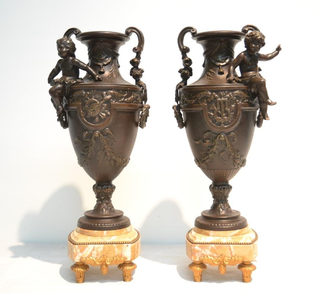 (Pr) LARGE FRENCH PATINATED METAL & MARBLE URNS