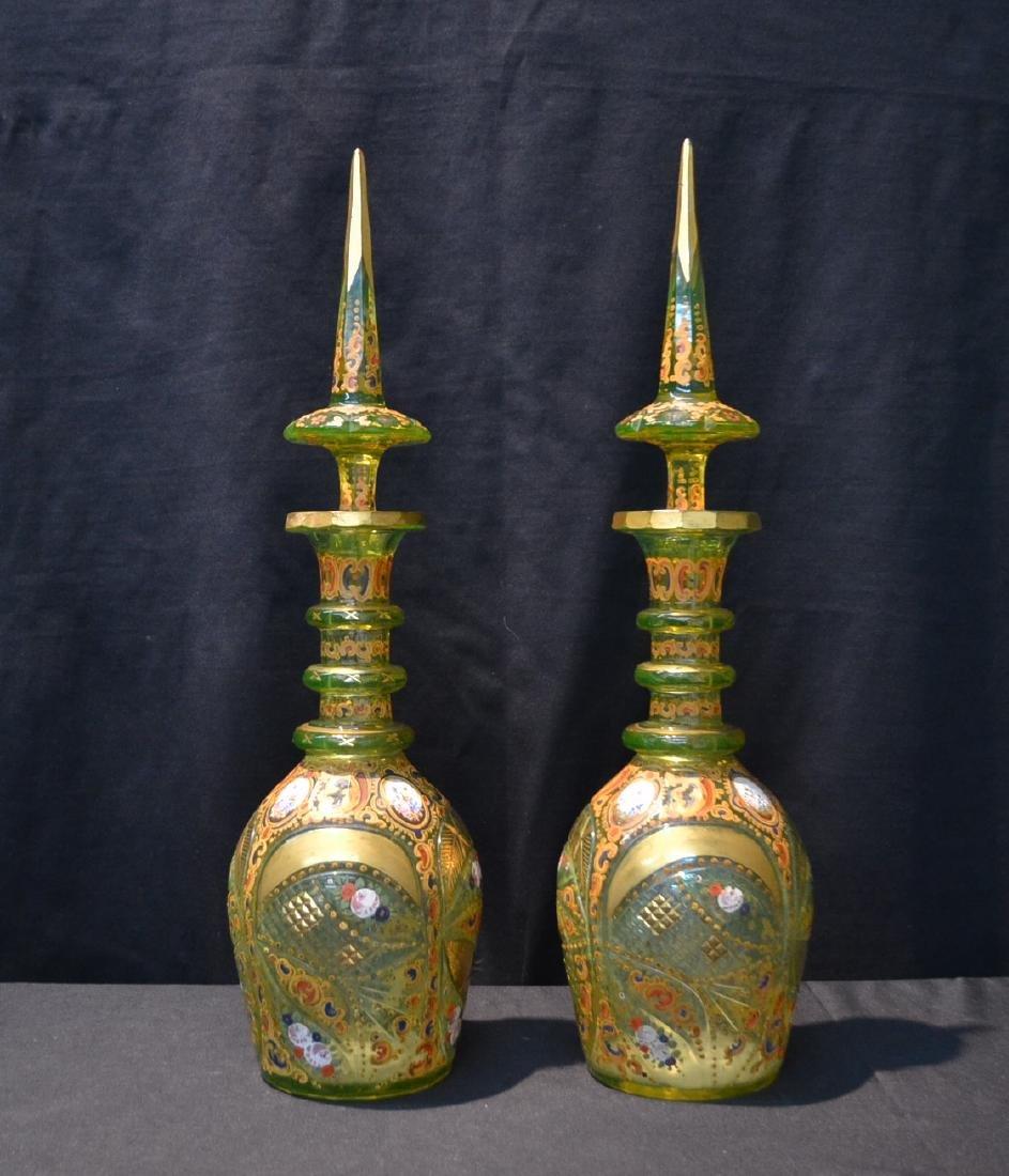 (Pr) LARGE BOHEMIAN GREEN CUT GLASS DECANTERS