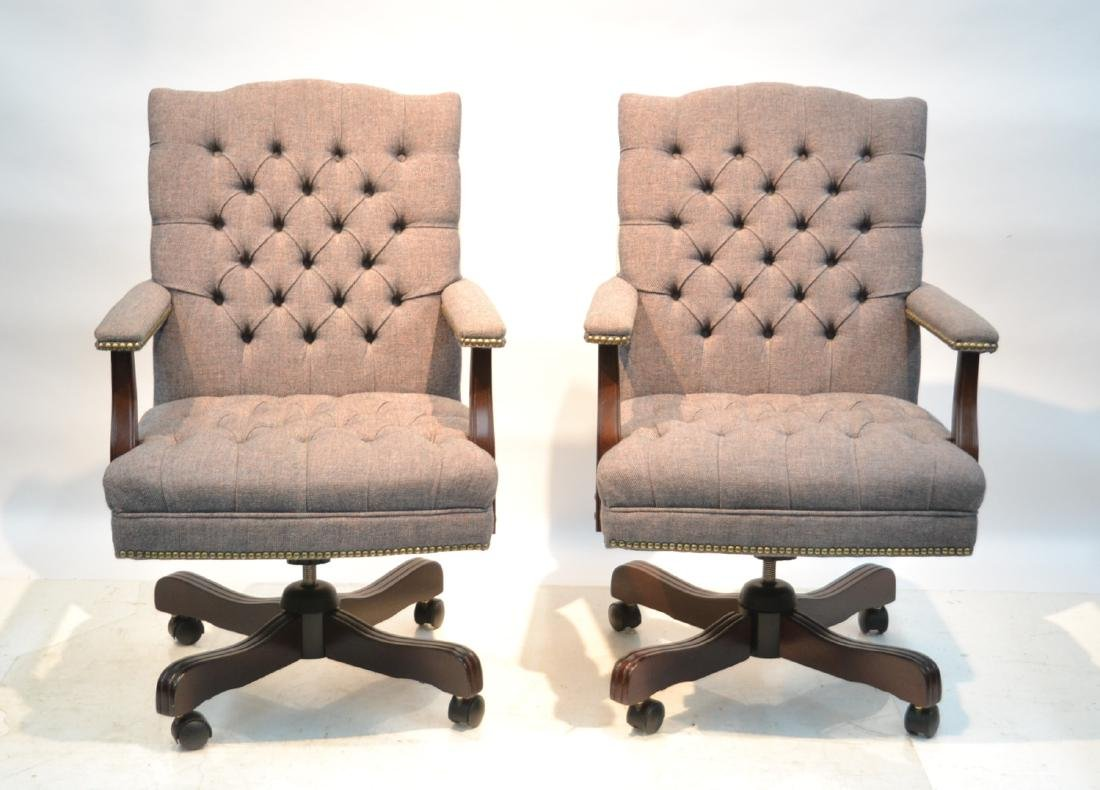 (2) HILLCREST SWIVEL TUFTED UPHOLSTERY ARM CHAIRS