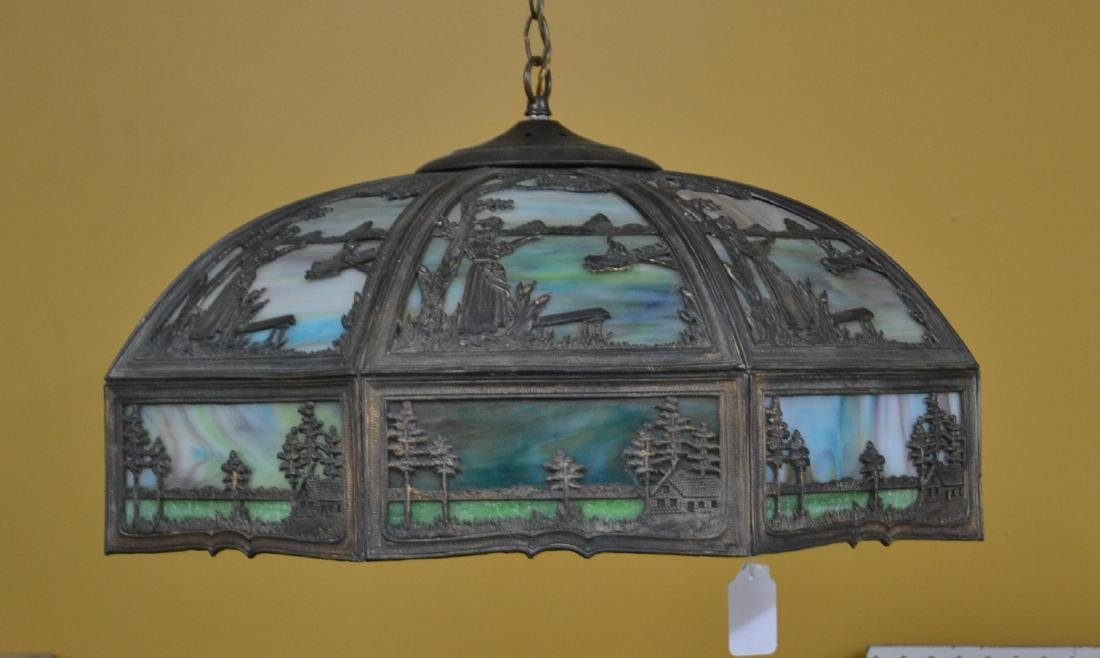 LARGE 24-PANEL STAINED GLASS SHADE FIXTURE WITH