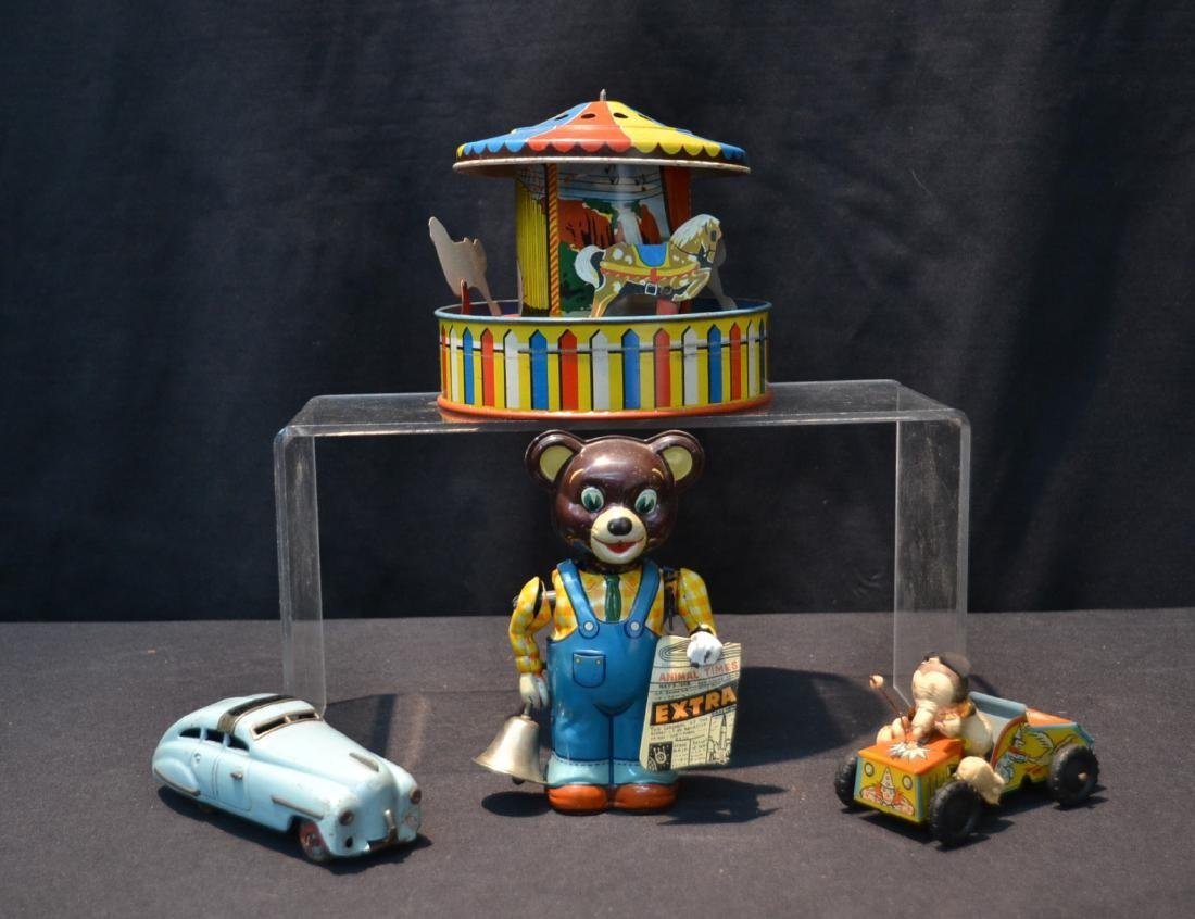 (4) WIND UP TIN LITHOGRAPHED TOYS INCLUDING