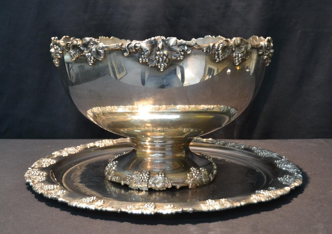 CRESCENT SILVER PLATE PUNCH BOWL & UNDERPLATE