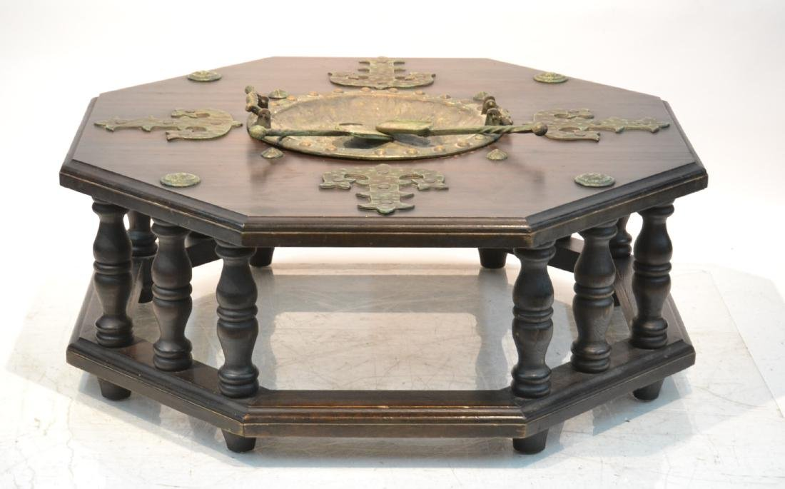 OCTAGONAL FORM GOTHIC ASH COFFEE TABLE WITH