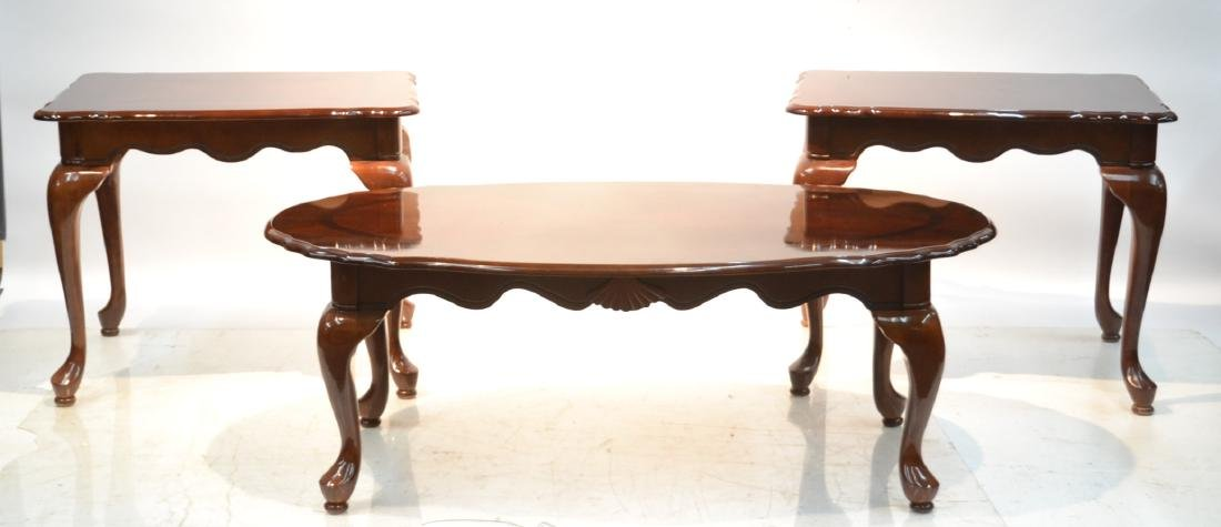 (Pr) MAHOGANY FINISH END TABLES & COFFEE TABLE
