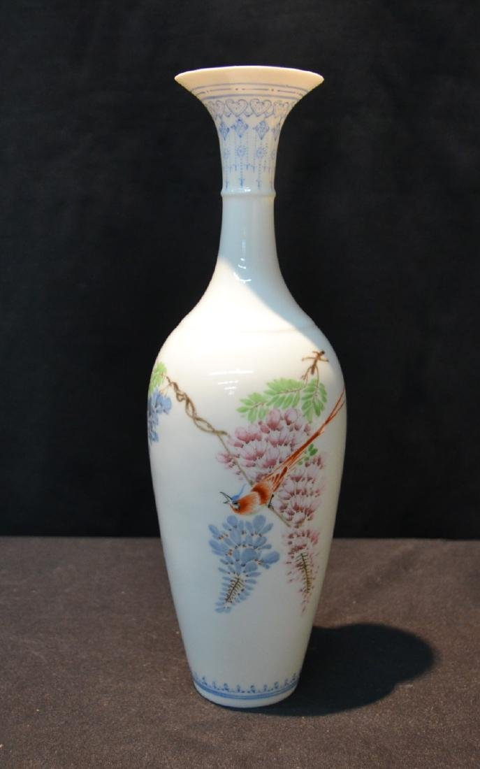 "CHINESE PORCELAIN VASE WITH BIRD - 3"" x 10"""