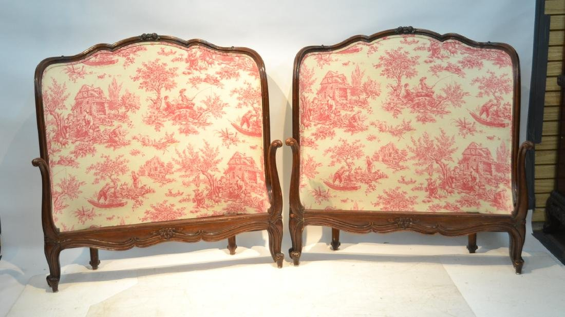 (Pr) FRENCH STYLE TWIN BEDS WITH TIOLE UPHOLSTERY