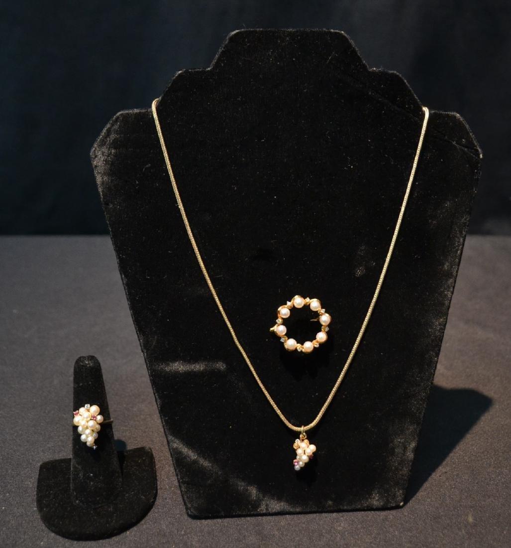 18kt PEARL & DIAMOND PIN 14kt PEARL , RUBY &