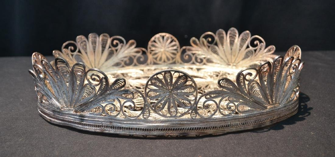 PERSIAN FILIGREE SILVER TRAY WITH GALLERY