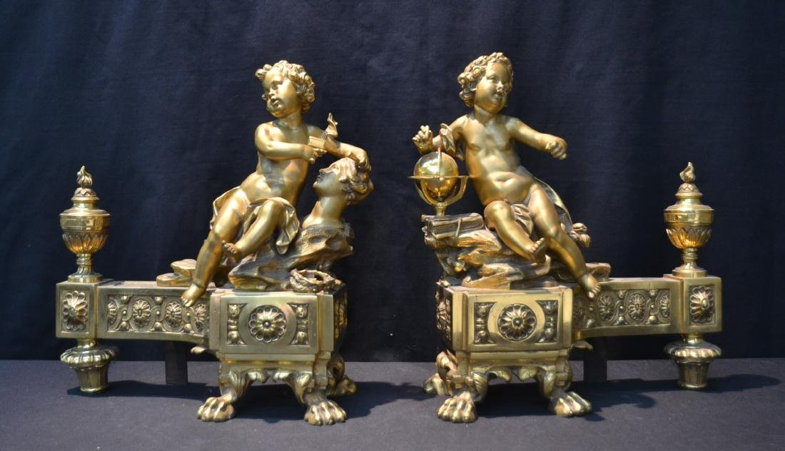 (Pr) FRENCH BRONZE PUTTI CHENETS DEPICTING
