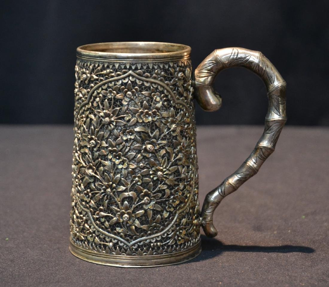 19thC CHINESE EXPORT SILVER MUG WITH