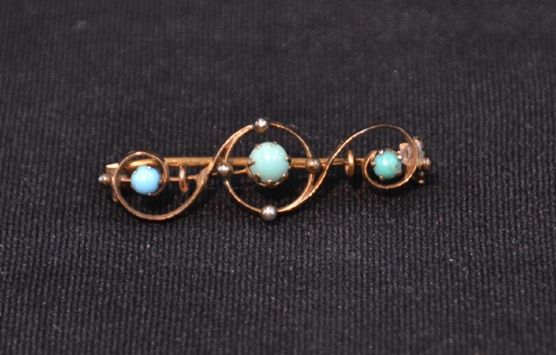 """VICTORIAN 10kt TURQUOISE PIN - 1 1/2"""" ; 2.2grams"""