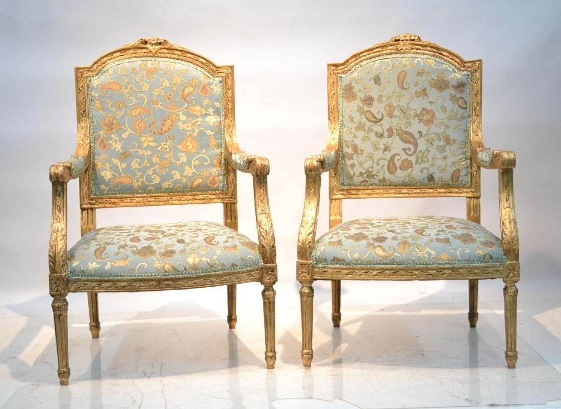 (Pr) UPHOLSTERED CARVED GILTWOOD ARM CHAIRS