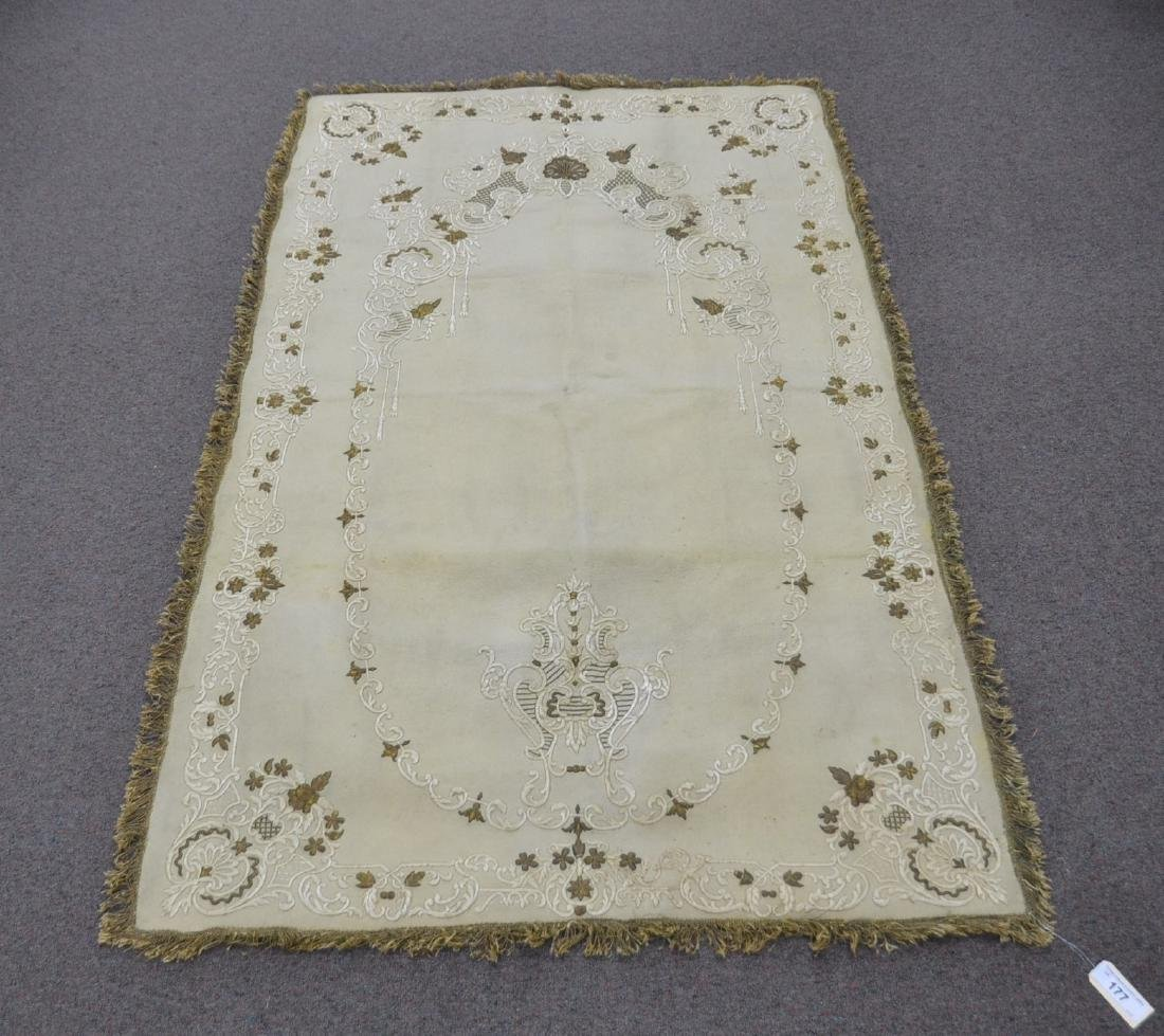 HAND WOVEN PRAYER RUG WITH RAISED DESIGNS