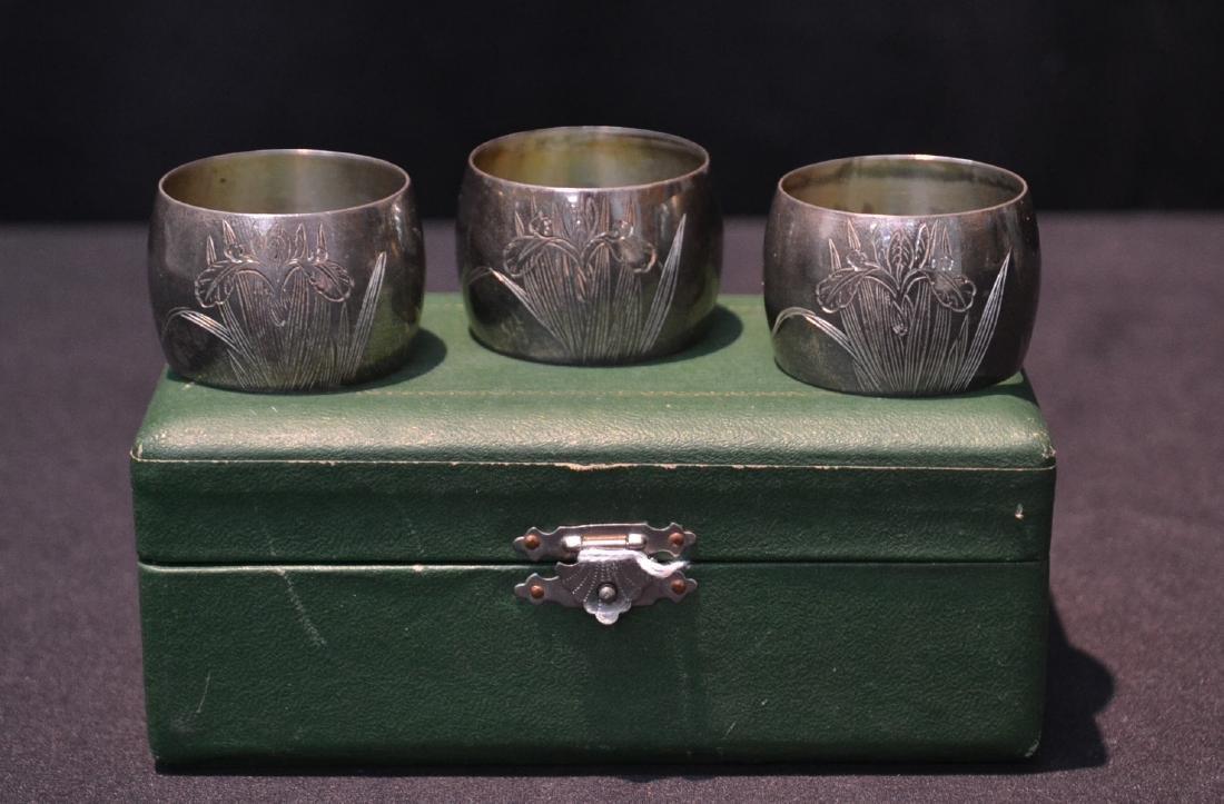 (3) 800 SILVER NAPKIN RINGS WITH ORIGINAL BOX