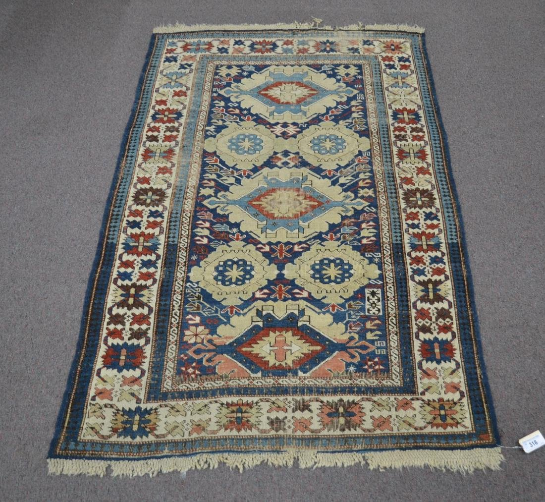 "ANTIQUE CAUCASIAN RUG - 3' 7 x 5 '4"" (SOME WEAR)"
