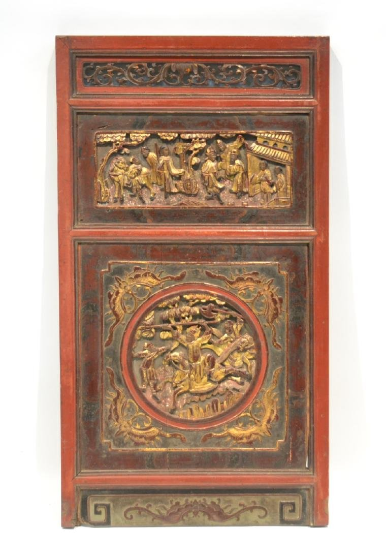 ANTIQUE CHINESE CARVED WOOD PANEL WITH