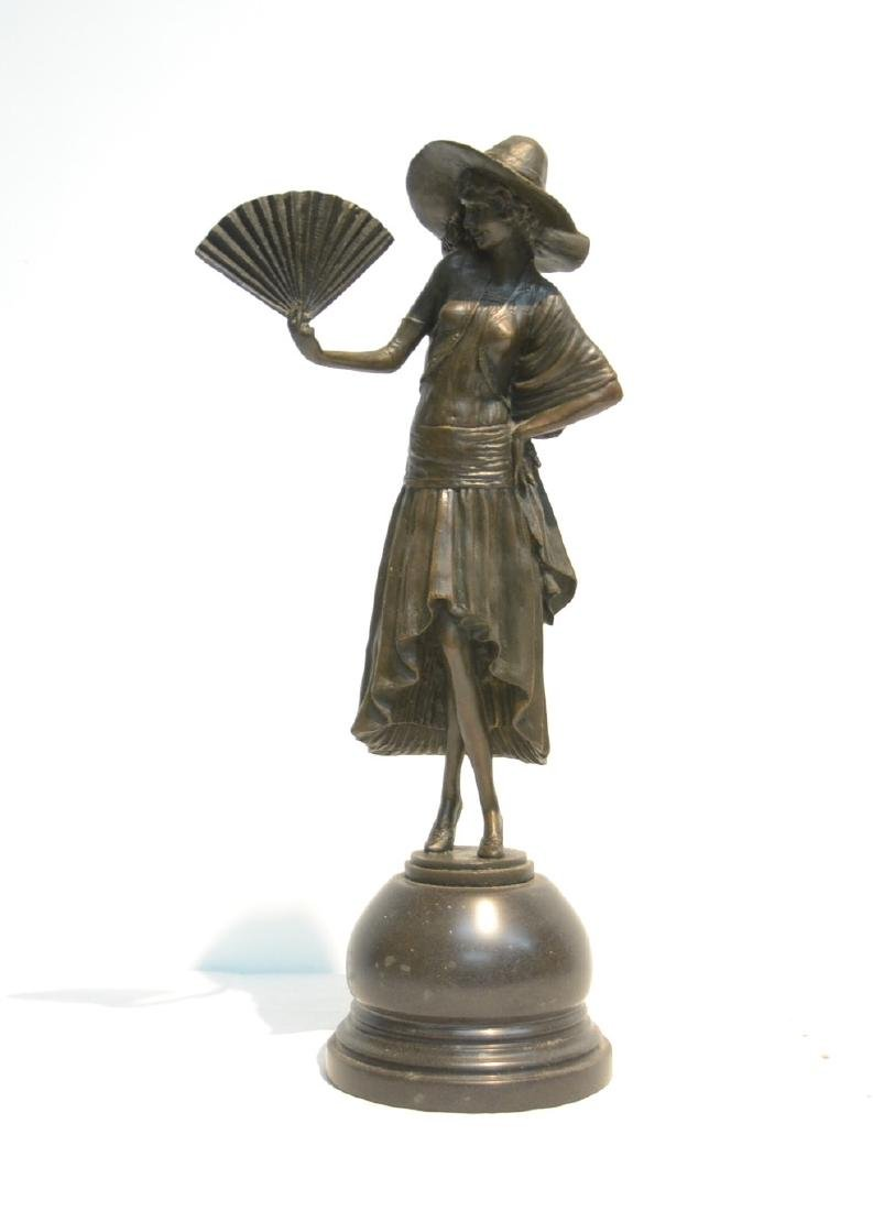 BRONZE WOMAN WITH FAN , SIGNED R. PHILLIP