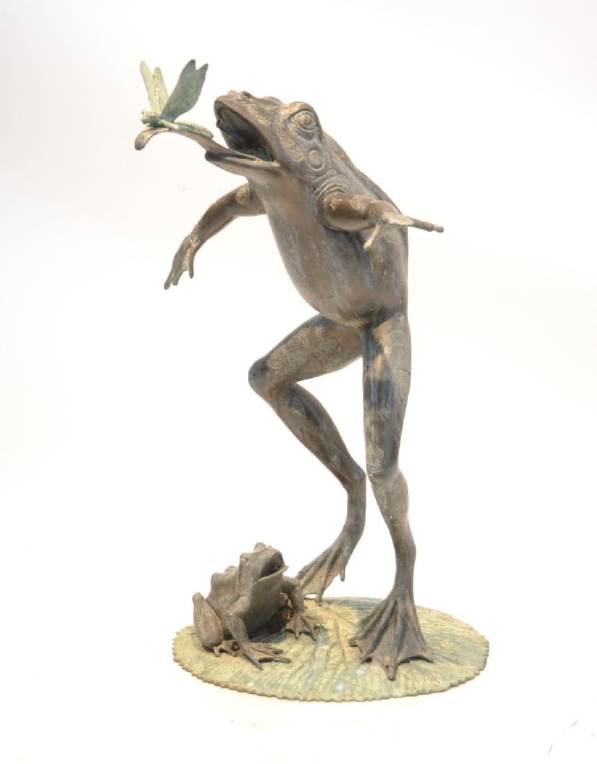 LARGE BRONZE FROG FOUNTAIN ; DEPICTING FROG
