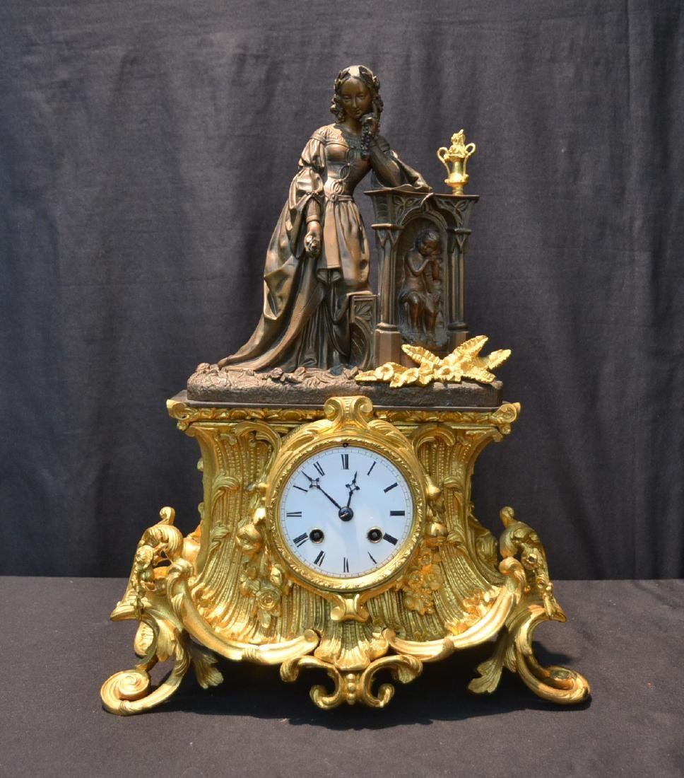 19thC FRENCH DORE & PATINATED BRONZE MANTLE CLOCK