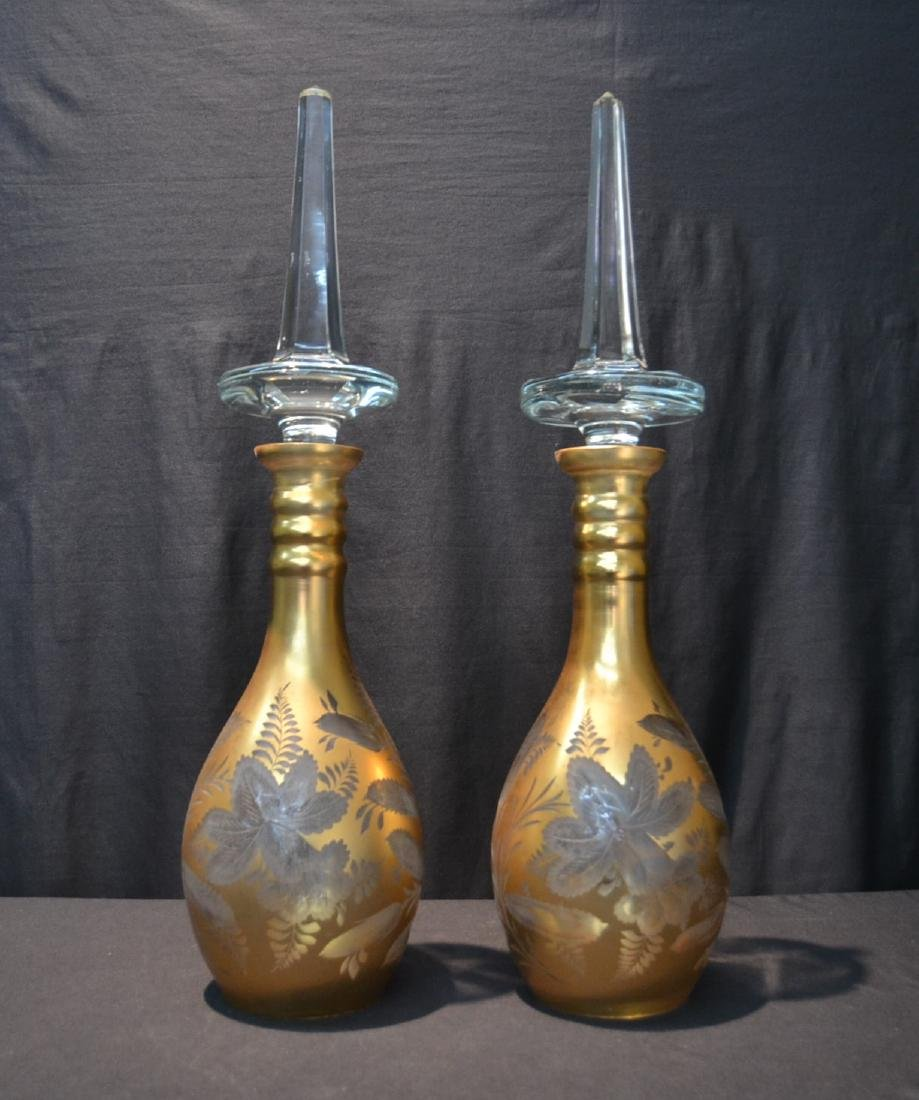(Pr) LARGE BOHEMIAN ETCHED DECANTERS WITH