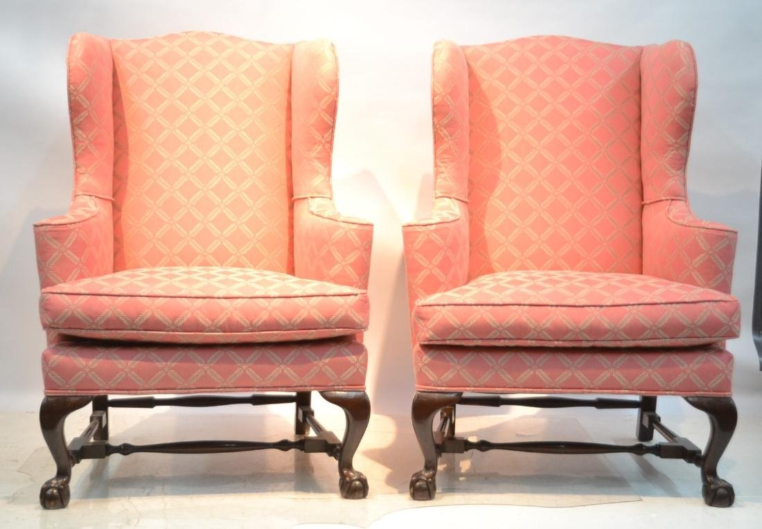 (Pr) MAHOGANY CHIPPENDALE STYLE WING CHAIRS