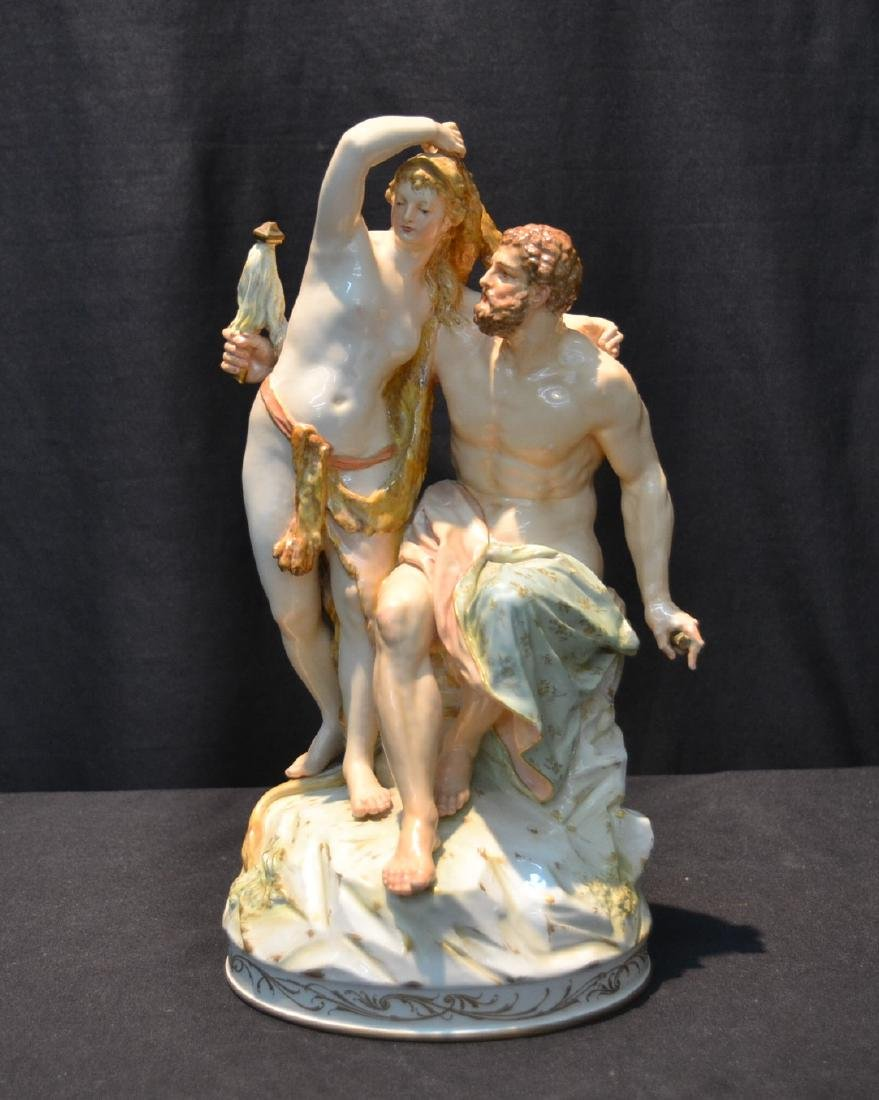 KPM PORCELAIN GROUPING OF HERCULES & OMPHALE