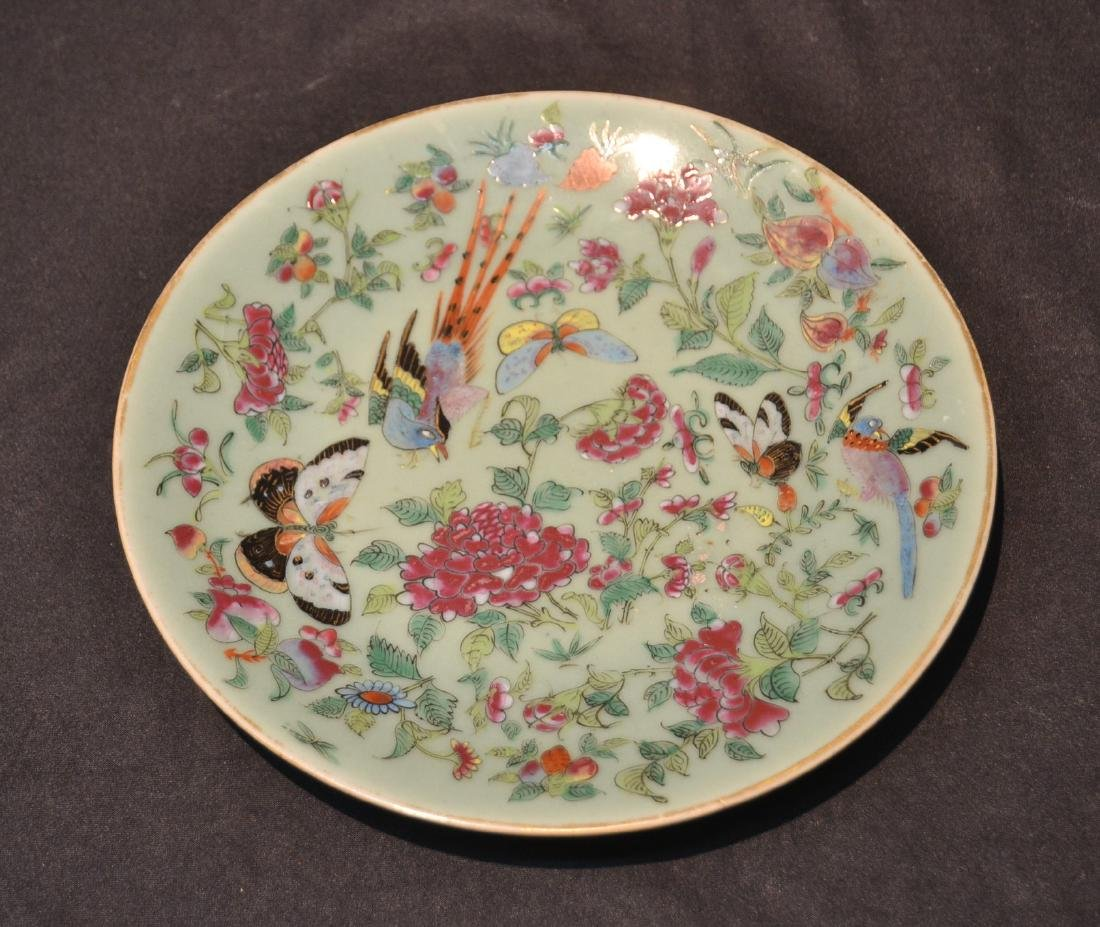 """CHINESE PORCELAIN DISH WITH BUTTERFLY & BIRDS -10"""""""