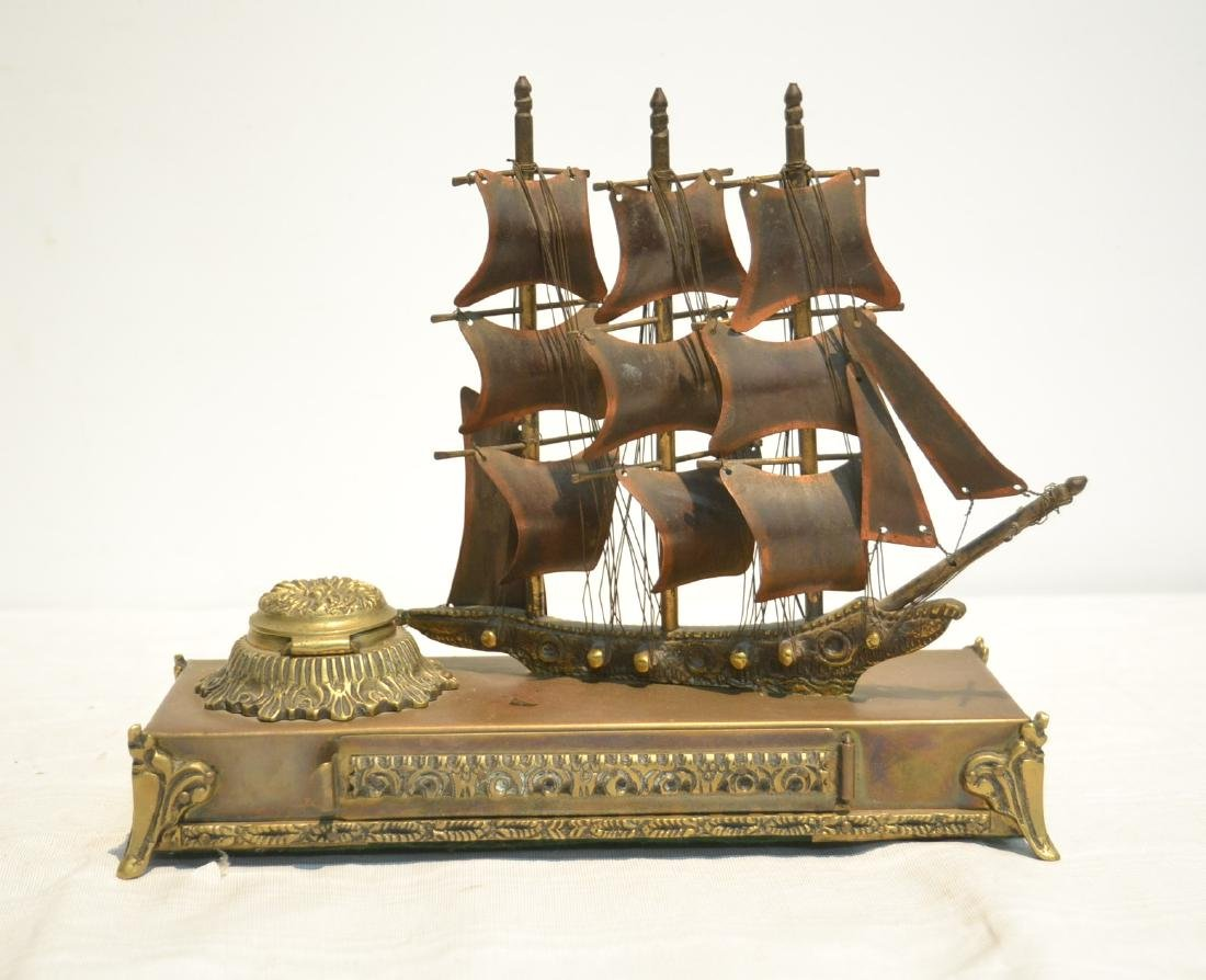 VICTORIAN BRONZE SHIP FORM INKWELL