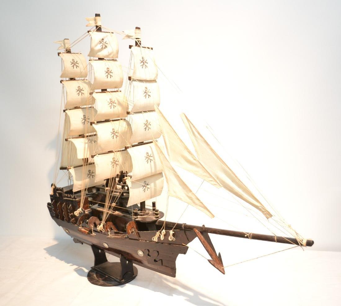 "WOODEN PIRATE SHIP MODEL - 41"" x 8"" x 35"""
