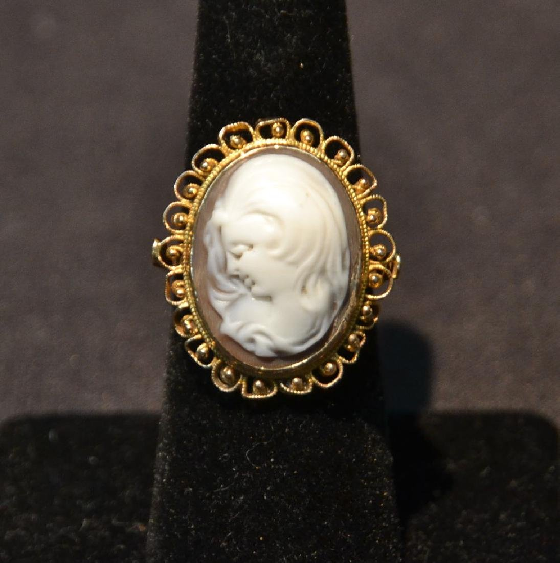 14kt VICTORIAN CAMEO RING - SIZE 7