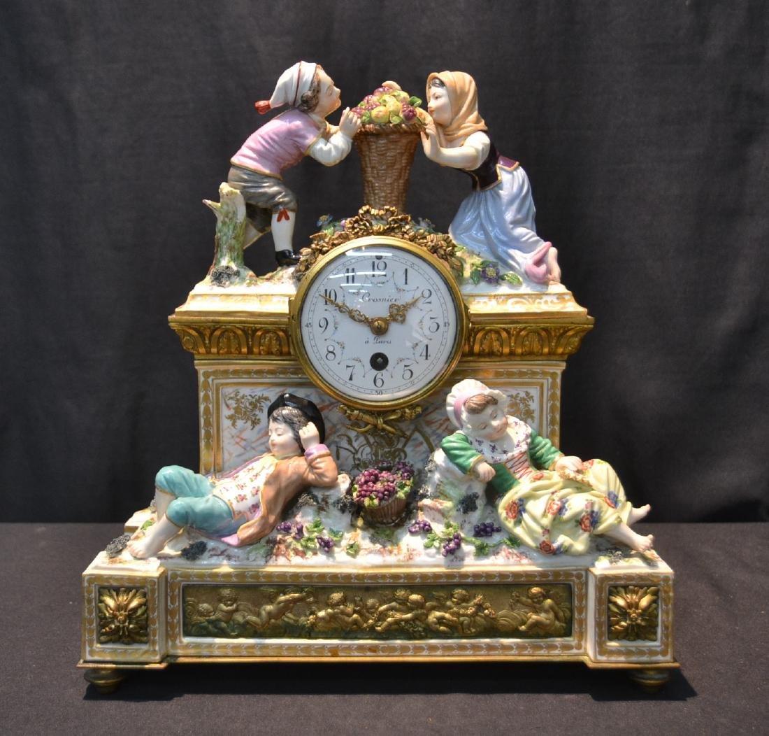 MEISSEN - DRESDEN PORCELAIN & BRONZE CLOCK