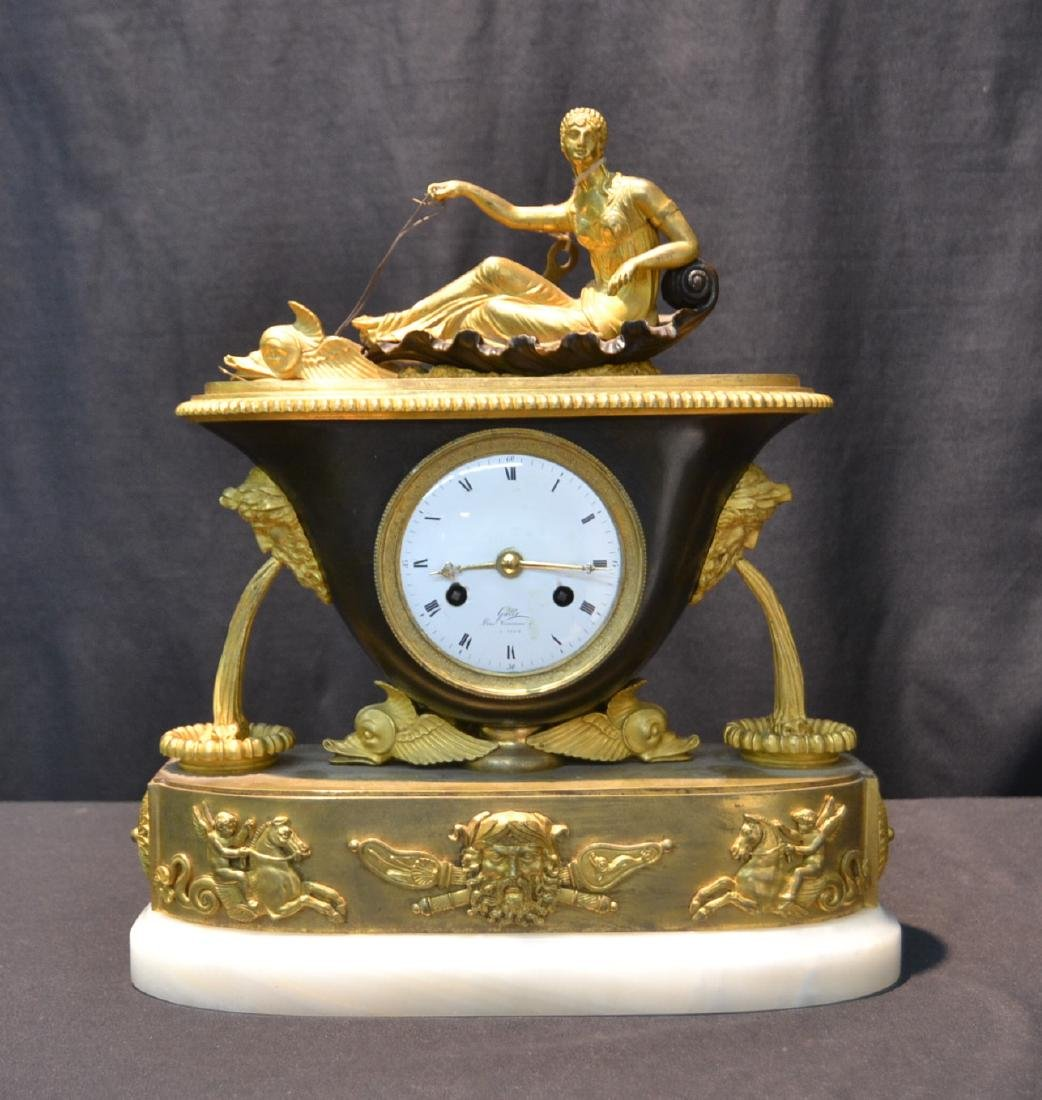 GALLE , FRENCH EMPIRE BRONZE MANTLE CLOCK