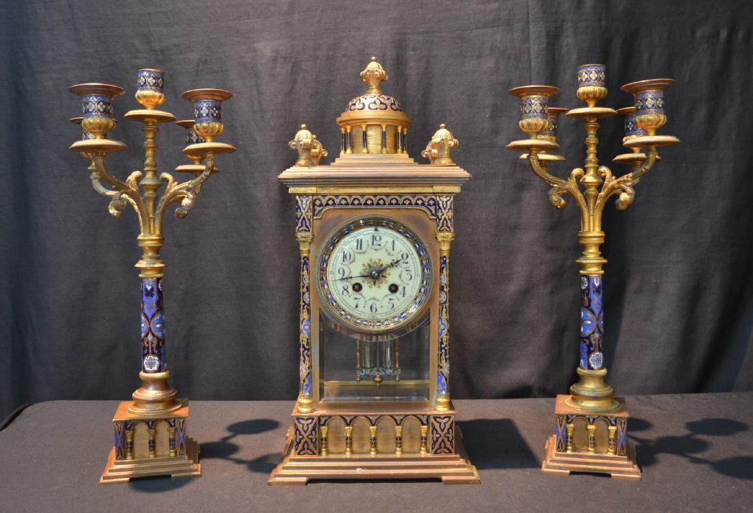 (3)pc CHAMPLEVE BRONZE CLOCK SET