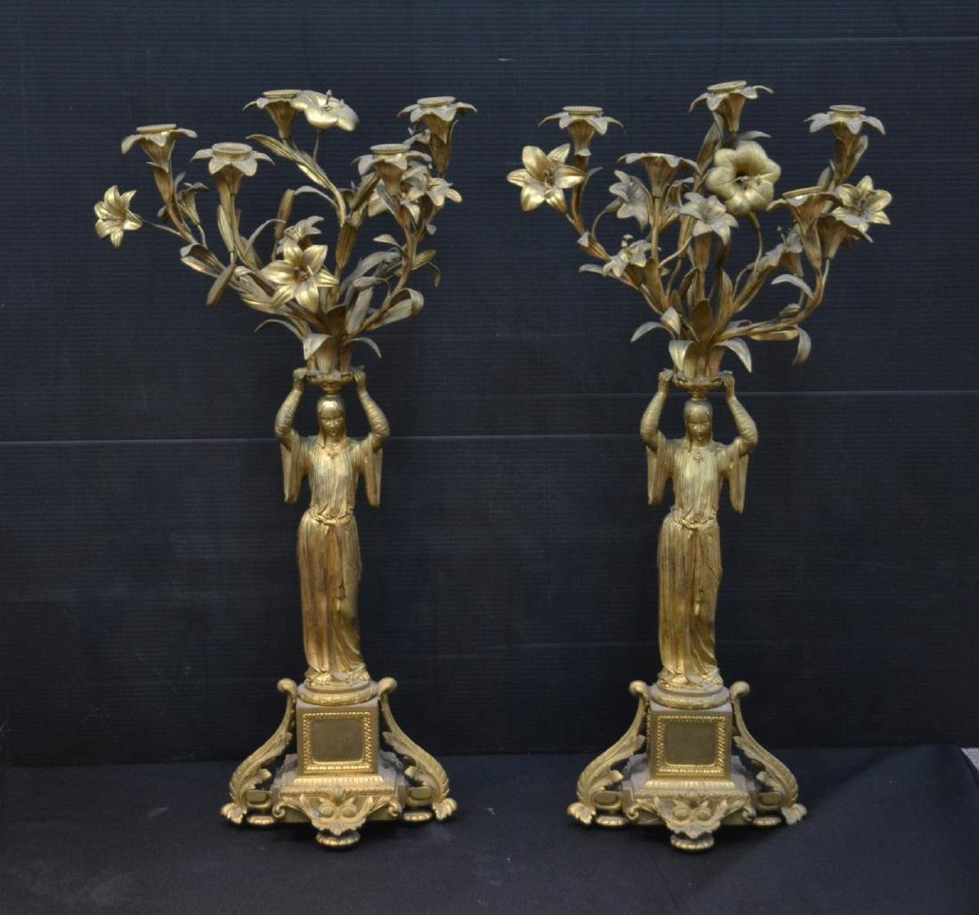 (Pr) BRONZE FIGURAL CANDELABRAS DEPICTING