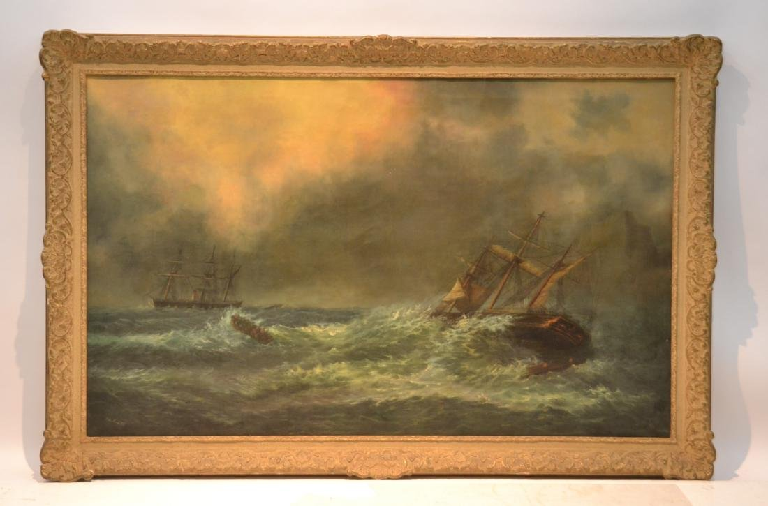OIL ON CANVAS ROUGH SEAS SHIPWRECK
