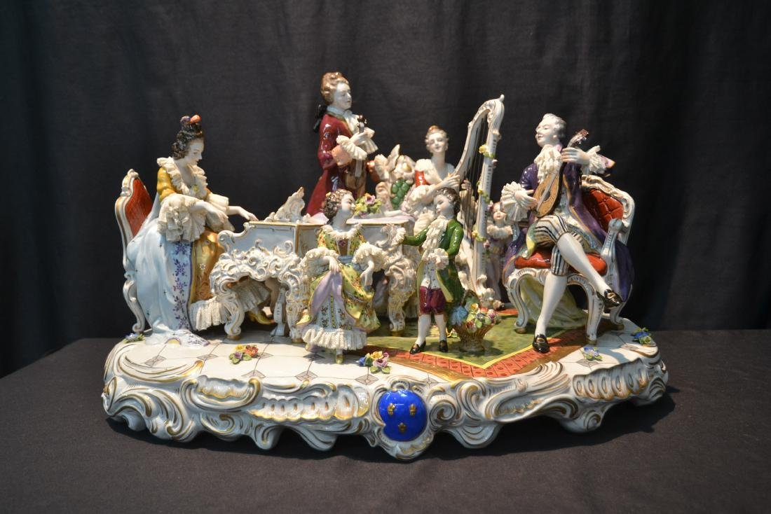 LARGE VOLKSTADT PORCELAIN MUSICAL LACE GROUPING