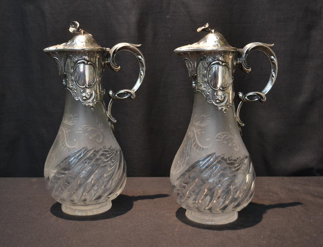 (Pr) GERMAN 800 SILVER & FROSTED CUT GLASS EWERS