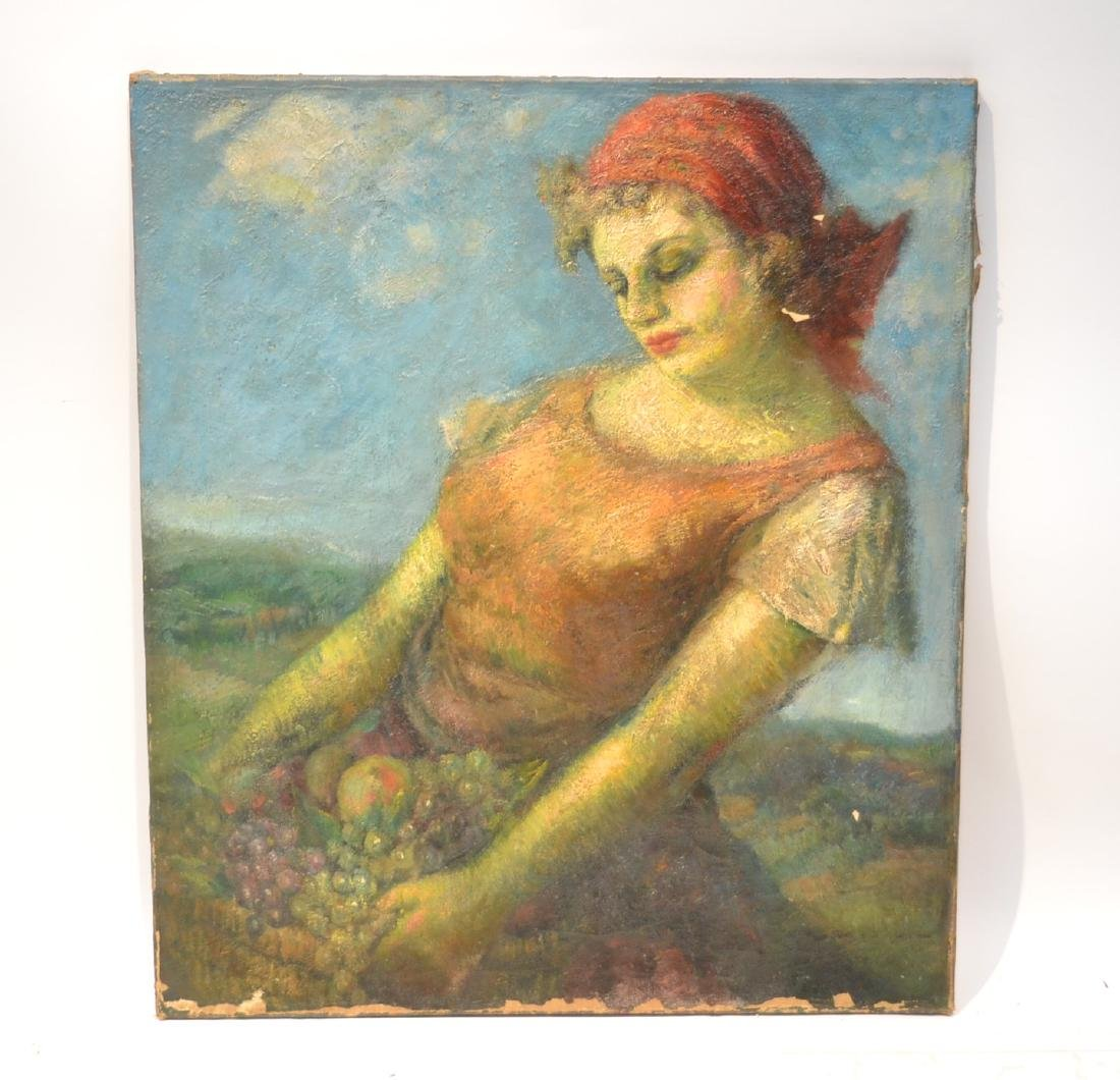 IMPRESSIONIST OIL ON CANVAS OF WOMAN