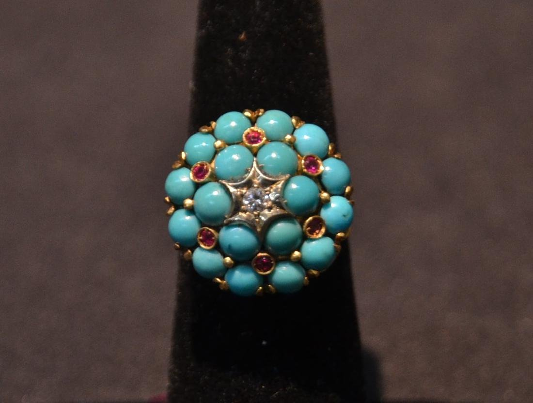 14kt TURQUOISE , RUBY & DIAMOND RING