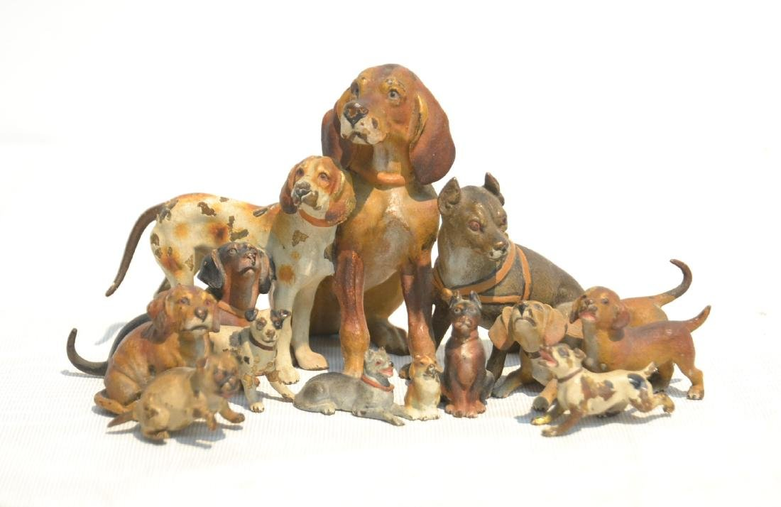 ANTIQUE AUSTRIAN COLD PAINTED BRONZE DOG GROUPING