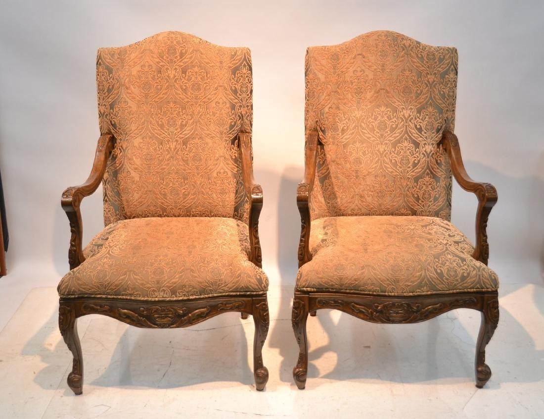 "(Pr) UPHOLSTERED ARM CHAIRS - 27"" x 24"" x 47"""