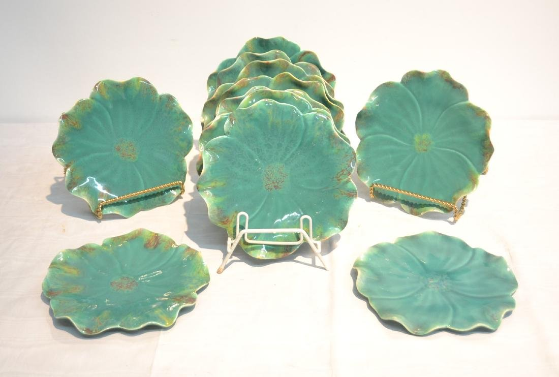 (11) MAJOLICA LILLY PAD PLATES - 8""