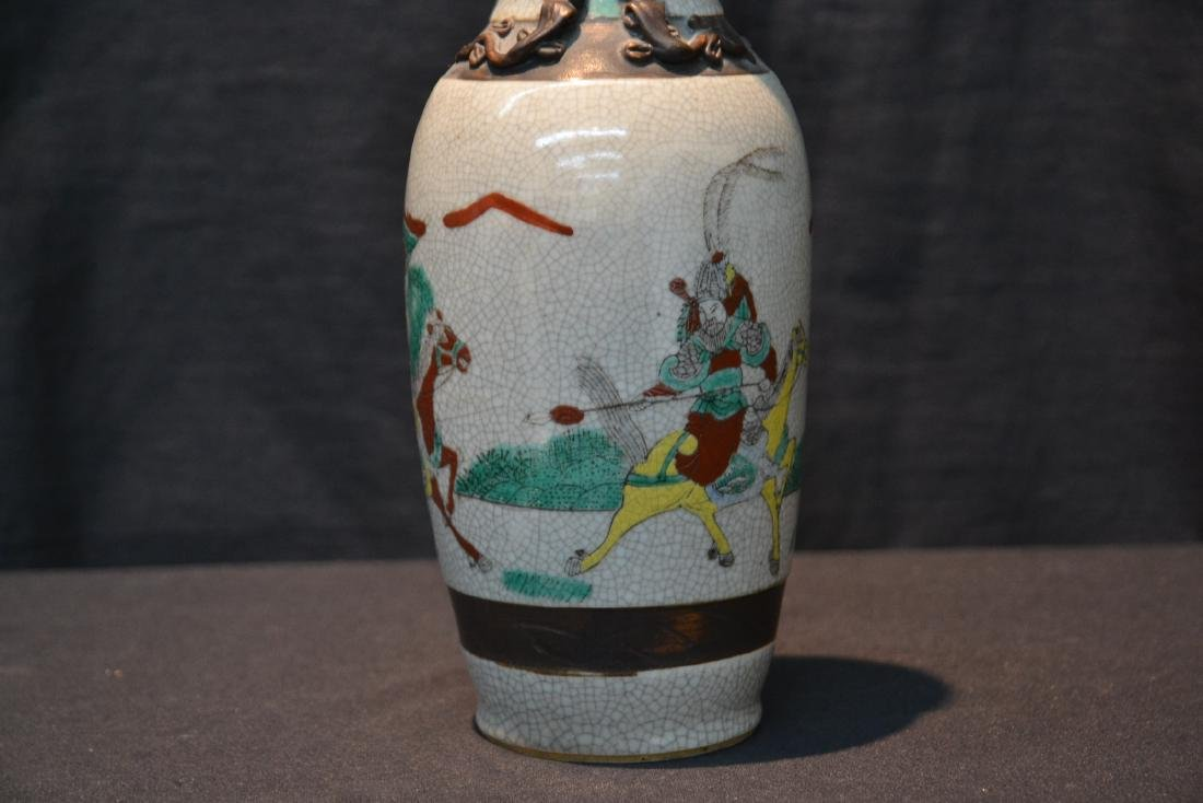ORIENTAL VASE WITH RAISED FIGURES ON HORSEBACK - 3