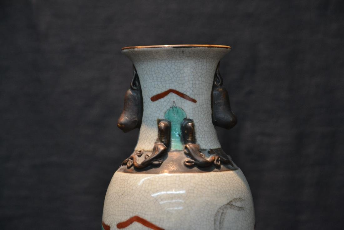 ORIENTAL VASE WITH RAISED FIGURES ON HORSEBACK - 4