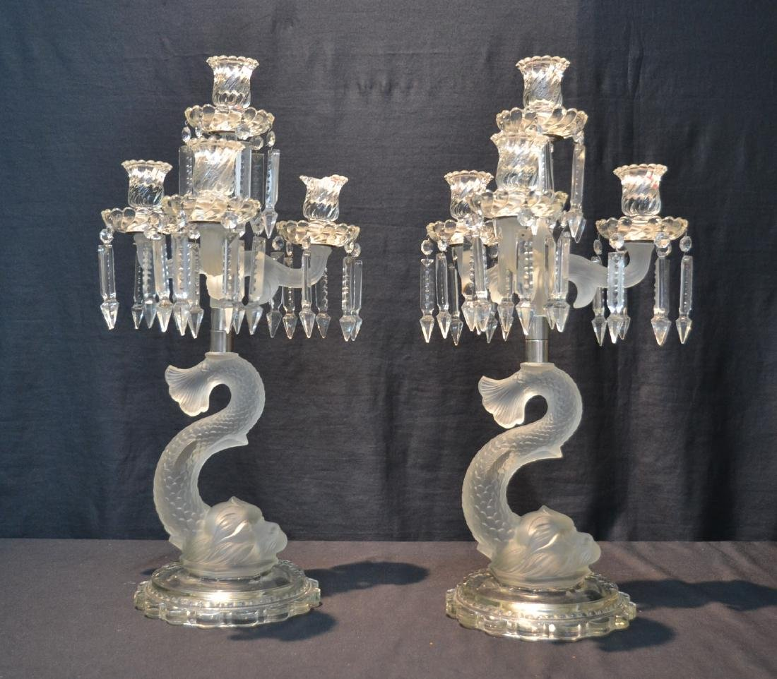 (Pr) EARLY CUT GLASS DOLPHIN FORM CANDELABRA