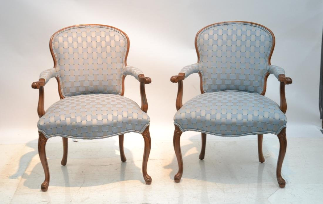 """(Pr) UPHOLSTERED ARM CHAIRS - 25"""" x 17"""" x 34"""""""