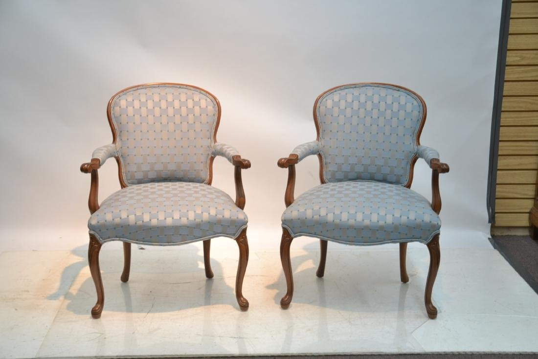 """(Pr) UPHOLSTERED ARM CHAIRS - 25"""" x 17"""" x 34"""" - 2"""