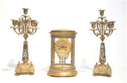 (3)pc FRENCH BRONZE & CHAMPLEVE CLOCK SET